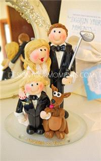 Accessories & Favours. Golfer and Bride, Child and Dog