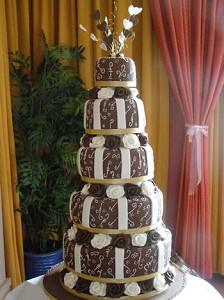Cakes, Marguerite Wedding Cake (5-tiered chocolate and cream cake with piped detail and handmade sug