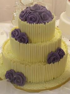 Cakes, White Chocolate Curls Wedding Cake. Each wedding cake is decorated to your own specification