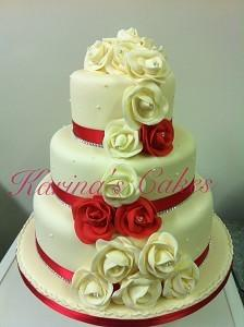 Cakes, Red-Rose Trail Wedding Cake. Each wedding cake is decorated to your own specification and col