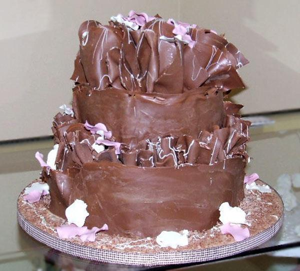 Cakes, Chocolate Pink Petals Wedding Cake. The chocolate cakes are coated with either white, dark or