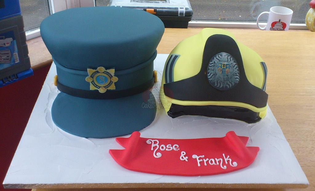 Cakes, Garda Hat and Firemans Helmet