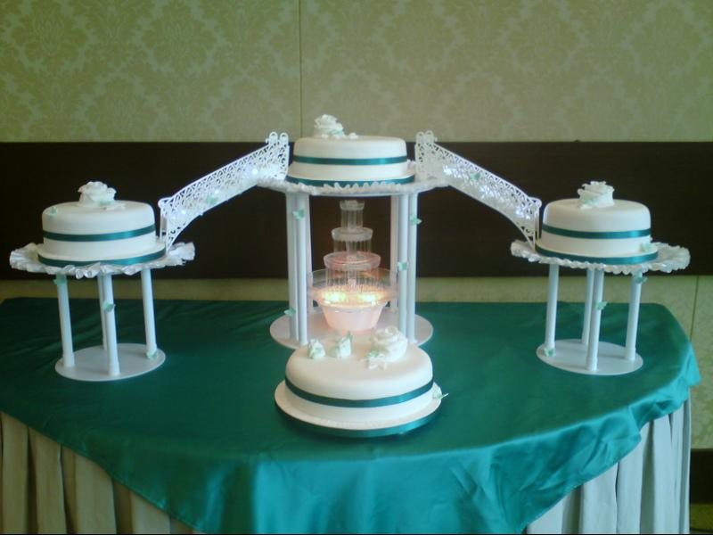 Cakes, 4-Tier Stairs and Fountain