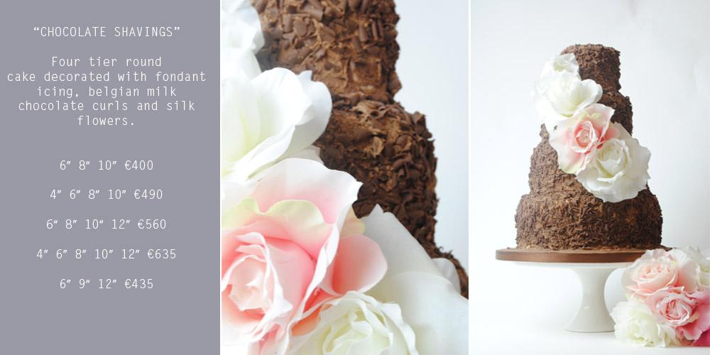 Cakes, Chocolate Shavings Wedding Cake (four-tier round cake decorated with fondant icing, Belgian m