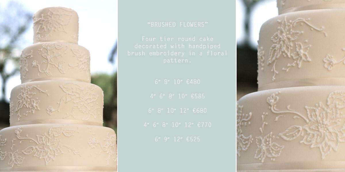 Cakes, Brushed Flowers Wedding Cake (four-tier round cake decorated with hand-piped brush embroidery
