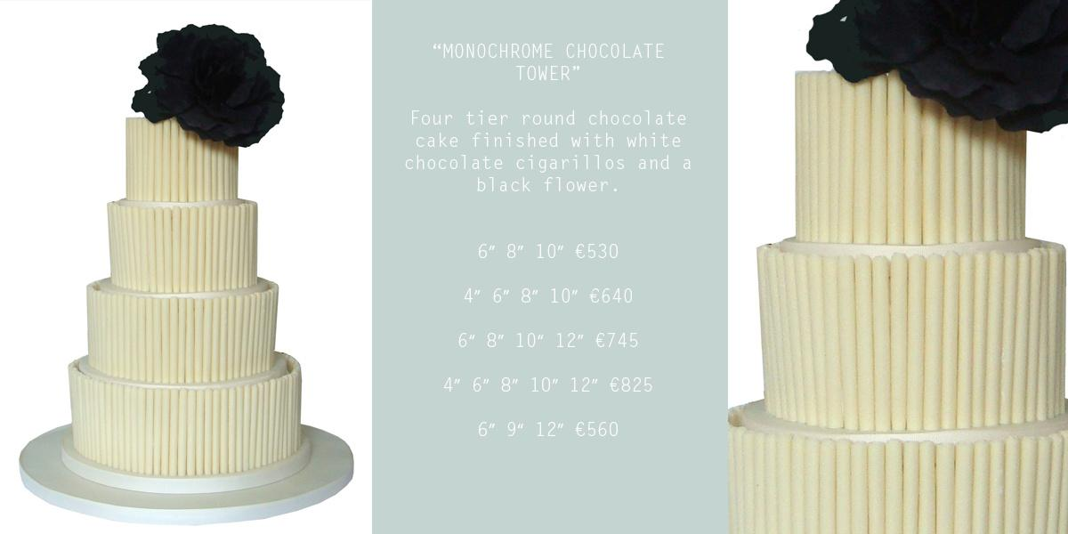 Cakes, Monochrome Chocolate Tower Wedding Cake (four-tier round chocolate cake finished with white c