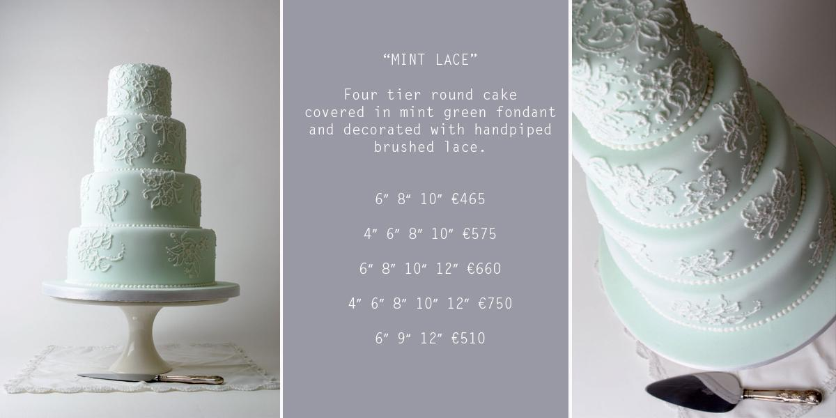 Cakes, Mint Lace Wedding Cake (four-tier round cake covered in mint-green fondant and decorated with