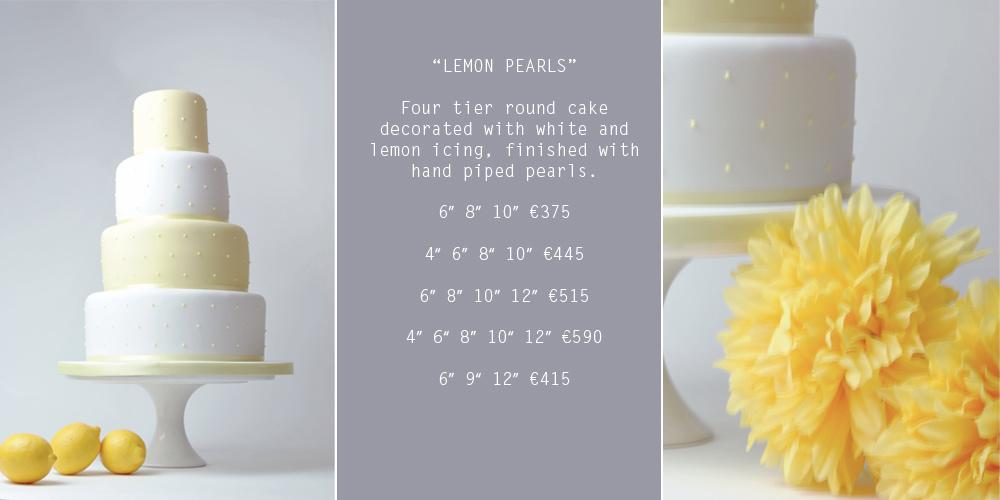 Cakes, Lemon Pearls Wedding Cake (four-tier round cake decorated with white and lemon icing and fini