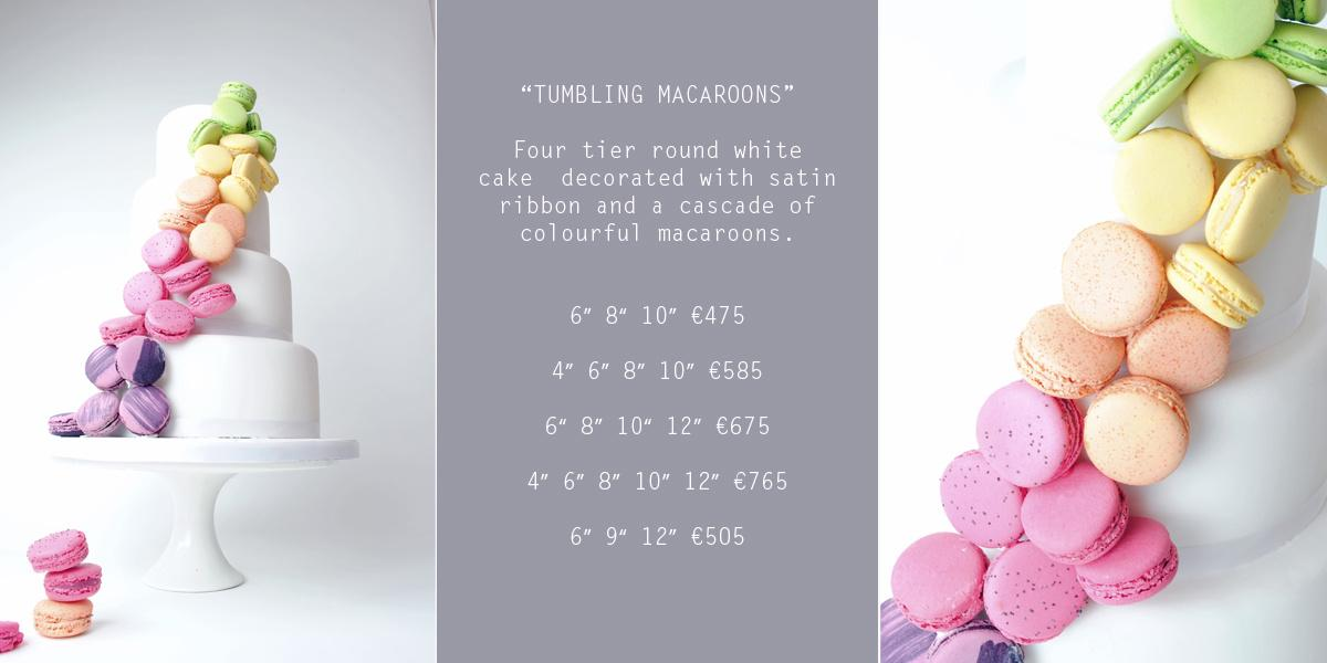 Cakes, _Tumbling Macaroons_ Wedding Cake (four-tier round white cake decorated with satin ribbon and