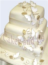 Cakes. Three-Tier Butterfly Wedding Cake
