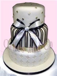 Cakes. Bows and Stripes Wedding Cake