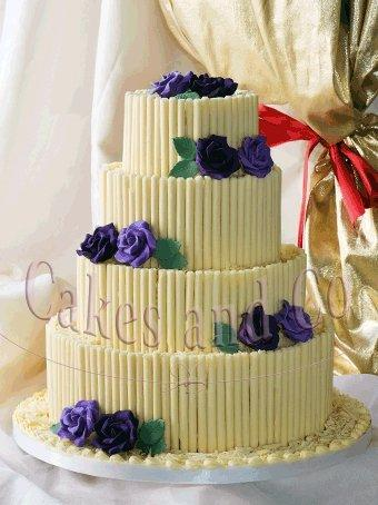 Cakes, Choc Curl with Roses Wedding Cake
