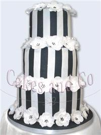 Cakes. Flower and Stripes Wedding Cake