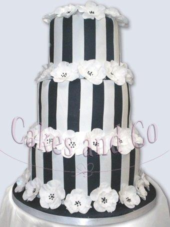 Cakes, Flower and Stripes Wedding Cake