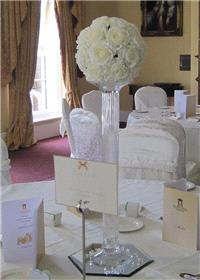 Decor & Event Styling. Glass Pillar with Ivory Silk Rose Round Top
