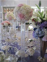 Decor & Event Styling. Ivory and Light Pink Balls with glass pillar