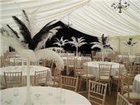 Decor & Event Styling. 10 black and white ostrich feather centrepieces with mirror plates and crysta