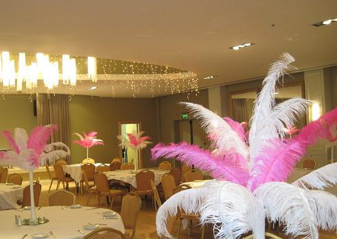 Decor & Event Styling, 10 pink and white ostrich feather centrepieces with mirror plates and crystal