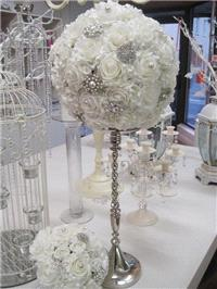 Decor & Event Styling. White rose ball with diamante and crystals centrepiece