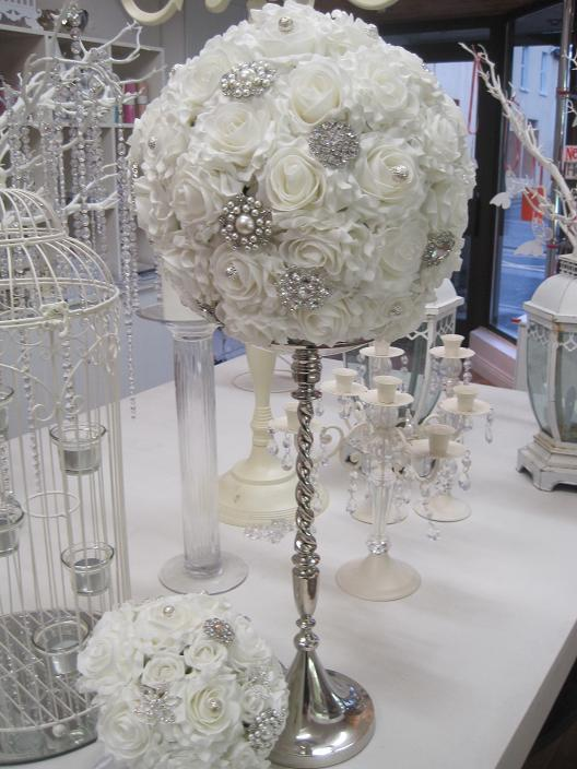 Decor & Event Styling, White rose ball with diamante and crystals centrepiece