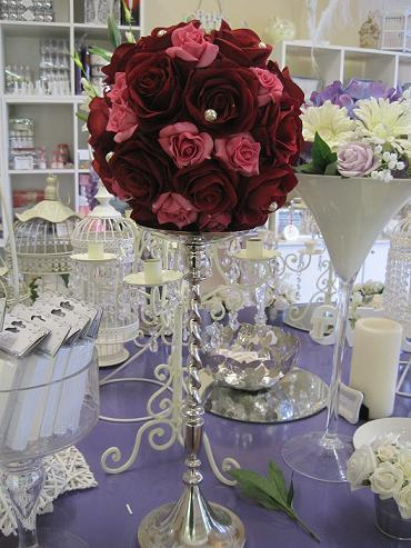 Decor & Event Styling, Red & pink floral ball centrepiece