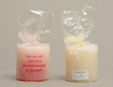 Accessories and Favours, Candle (available in red, pink or cream). Can be personalised (names of the
