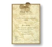 Stationery. Duet Rose Day Invite. Antique gold pearlescent backing card layered with rose gold paper