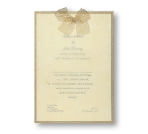 Stationery, Sheer Bliss Day Invite (gold). Antique gold pearlescent backing card layered with ivory