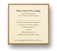 Stationery. Simplicity Day Invite. Antique gold backing card layered with ivory pearlescent paper wi