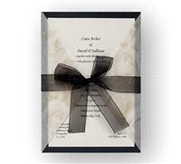 Stationery. Diamond Rose Day Invite (black). Black pearlescent backing card layered with ivory pearl