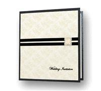 Stationery. Embrace Day Invite (black). Black pearlescent card layered on the inside with ivory pear