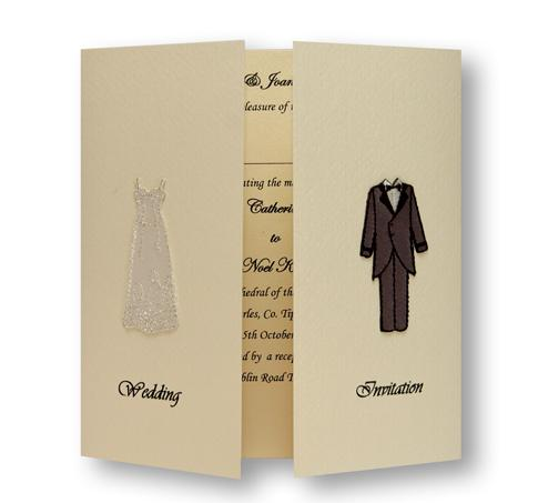 Stationery, Bride & Groom Day Invite. Ivory gatefold layered on the inside with ivory pearlescent pa