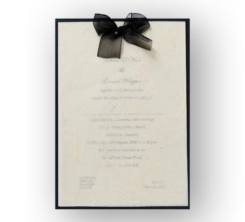 Stationery, Sheer Bliss Day Invite (black). Black pearlescent backing card layered with ivory pearle