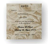 Stationery. Gold Rose RSVP. Gold rose personalised reply card. Supplied with an ivory envelope. Enve