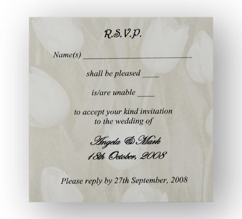 Stationery, Gold Tulip RSVP. Gold tulip personalised reply card. Supplied with an ivory envelope. En