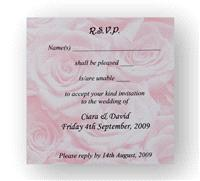Stationery. Pink Rose RSVP. Pink rose personalised reply card. Supplied with a white envelope. Envel