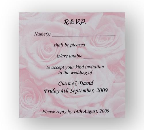 Stationery, Pink Rose RSVP. Pink rose personalised reply card. Supplied with a white envelope. Envel