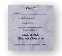 Stationery. Purple Rose RSVP. Purple rose personalised reply card. Supplied with a white envelope. E