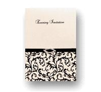 Stationery. Desire Evening Invite. White pearlescent card layered on the inside with white pearlesce