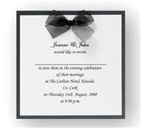 Stationery. Duet Evening Invite. Black pearlescent backing card layered with white pearlescent paper