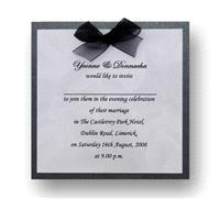 Stationery. Duet Rose Evening Invite. Black pearlescent backing card layered with silver rose paper
