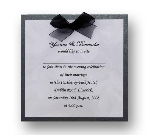 Stationery, Duet Rose Evening Invite. Black pearlescent backing card layered with silver rose paper