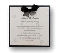 Stationery. Cherish Evening Invite. Black pearlescent backing card layered with white pearlescent pa