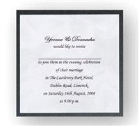 Stationery. Simplicity Lily Evening Invite. Black pearlescent backing card layered with silver lily