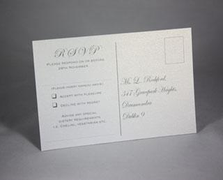 Stationery, Amore white RSVP postcard