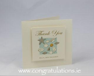 Stationery, Sea shore ivory thank-you card