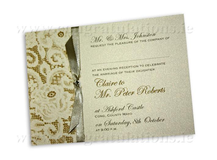 Stationery, Vintage lace (ivory) evening invite