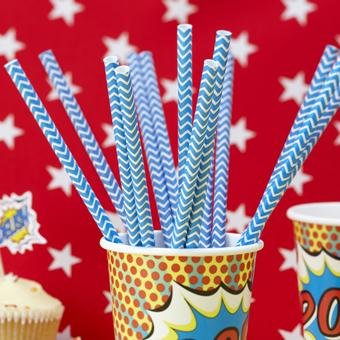 Decor & Event Styling, Blue Chevron Paper Straws. Pack of 25. Length: 7.75_ – 195mm.