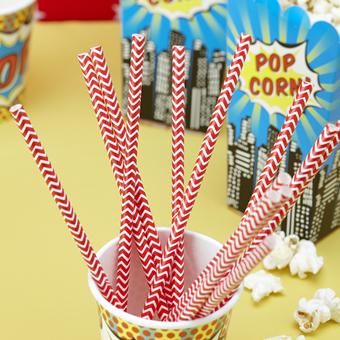 Decor & Event Styling, Red Chevron Paper Straws. Pack of 25. Length: 7.75_ – 195mm.