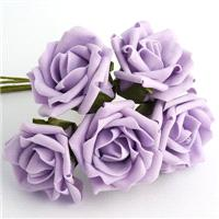 Flowers. Lilac 5cm Foam Rose Flower. Flower head height 1.5inches. Flower head diameter 2inches.